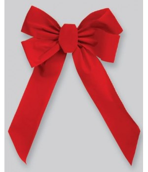"18"" x 35"" Red Velvet Deluxe Bow, Wired"